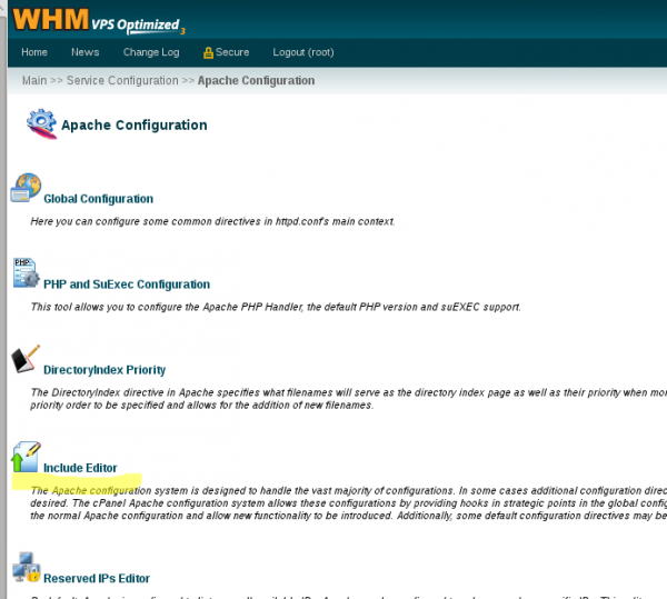 WHM httpd configuration - selcting include editor